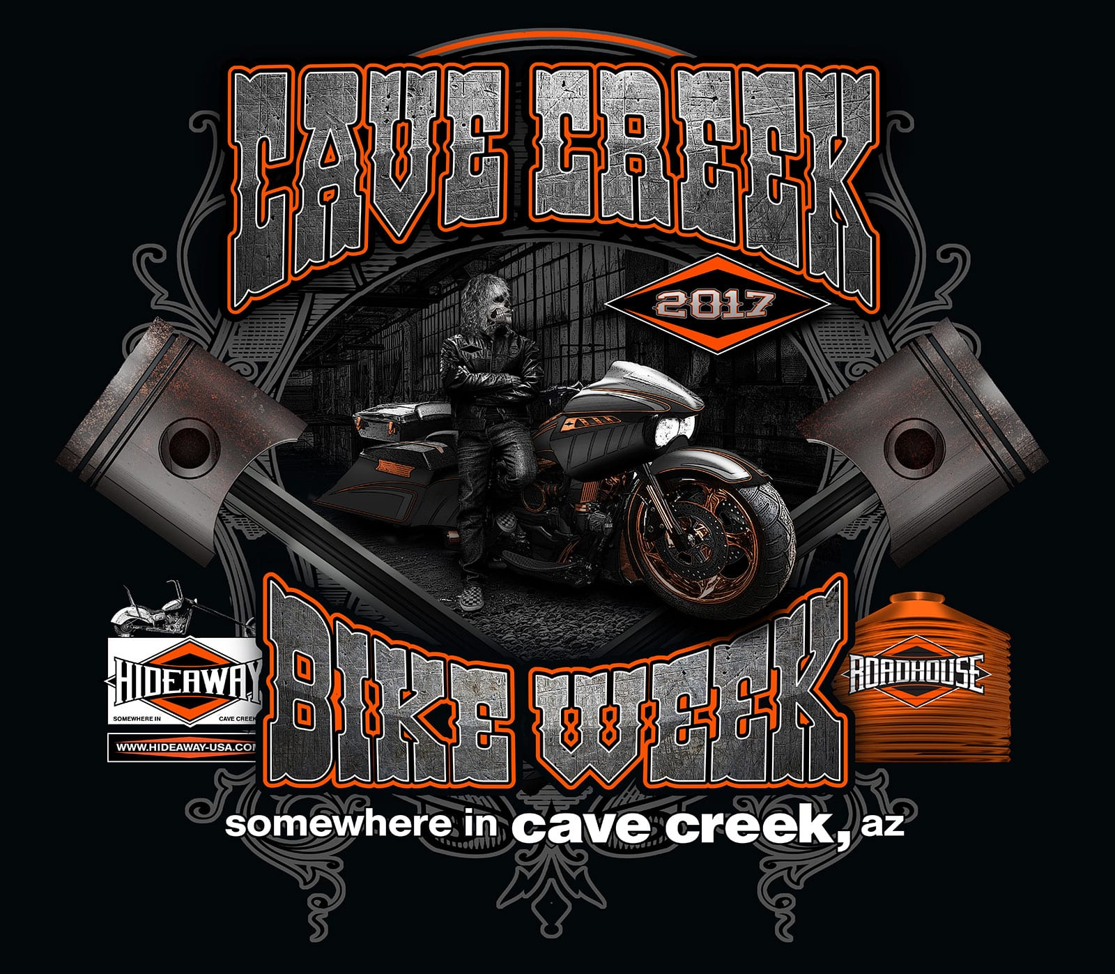 2017 Cave Creek Arizona Bike Week at the Hideaway Grill and Roadhouse.