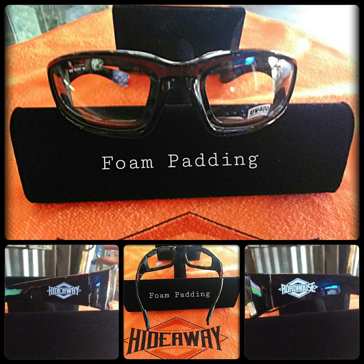 Roadhouse / Hideaway Glasses - Clear Lenses with Foam Padding Frames