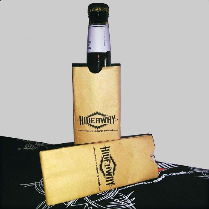 The Hideaway Grill: Bottle Koozie - Tan