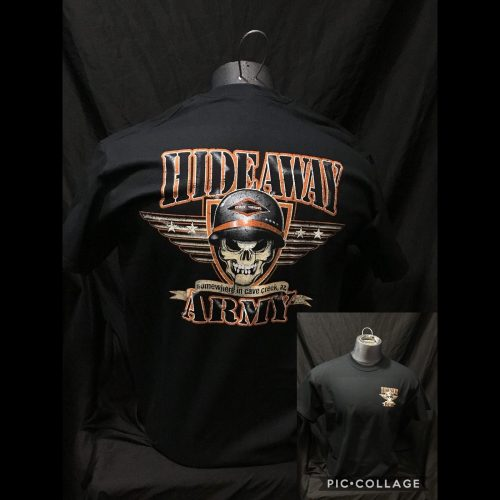 The Hideaway Grill: Men's Short Sleeve Army Shirt - Black