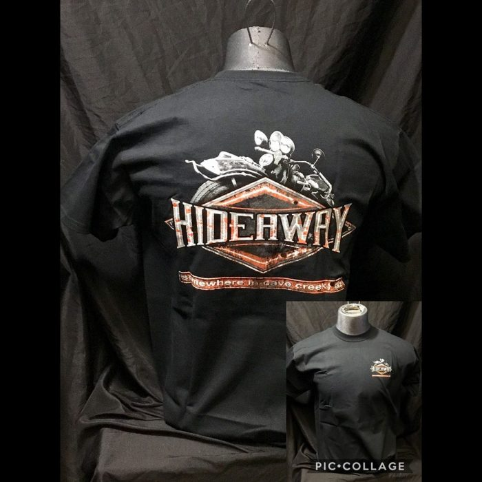 The Hideaway Grill: Men's, Distressed Diamond, Short Sleeve Shirt- Black