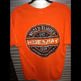The Hideaway Grill: Men's Sex Wax Short Sleeve Shirt - Orange