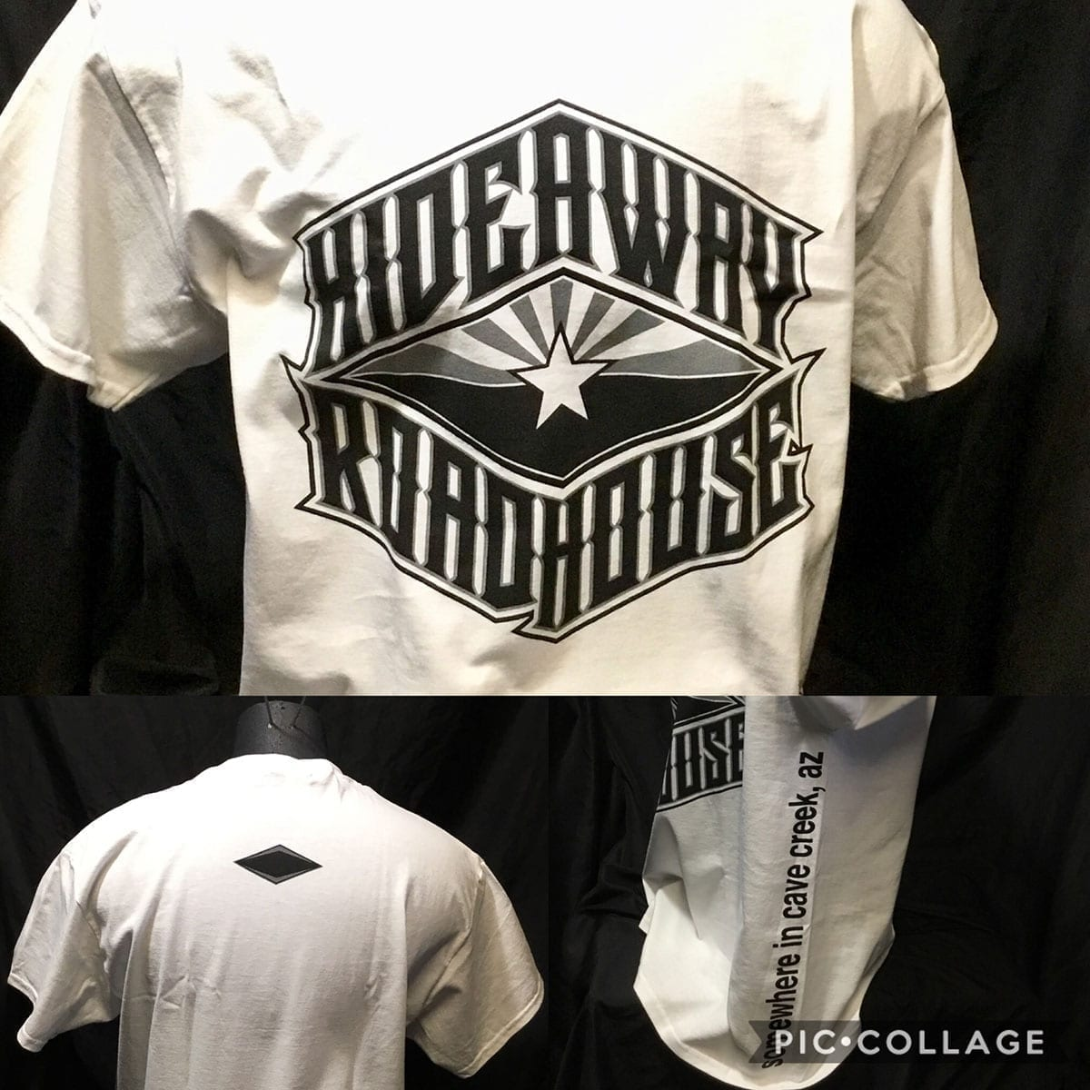 The Hideaway Grill: Flag Logo SS - White