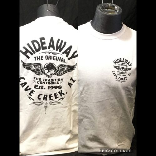 The Hideaway Grill: Men's Old School Wing Short Sleeve Shirt - White