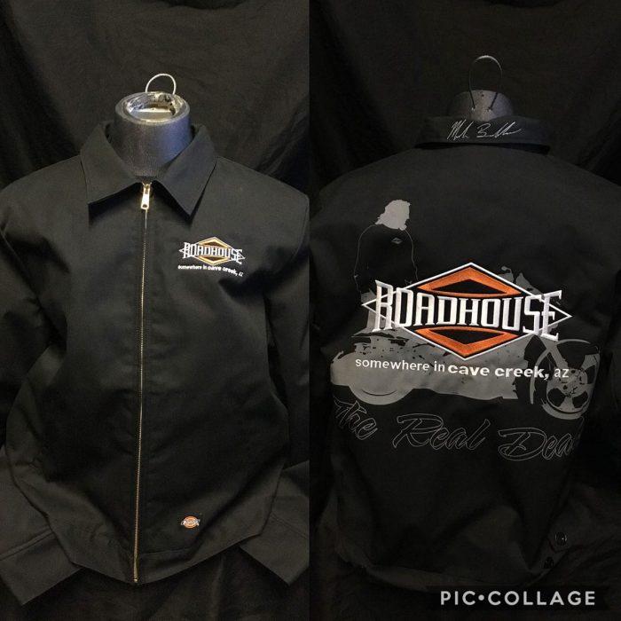 Roadhouse: Men's Dickies Jacket with Mark Cartoon Art - Back