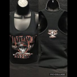 The Hideaway Grill: Women's Army Racerback Tank - Black