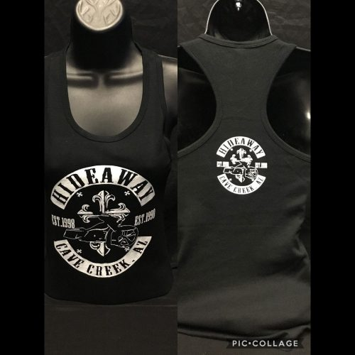 The Hideaway Grill: Women's Bagger Cross Racerback Tank - Black