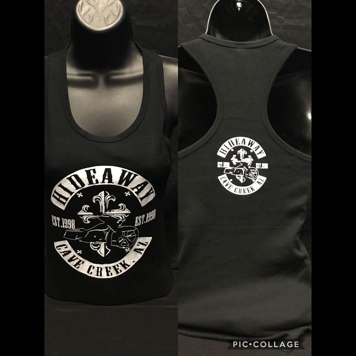 The Hideaway Grill: Women's Bagger Cross Racerback Tank - Black