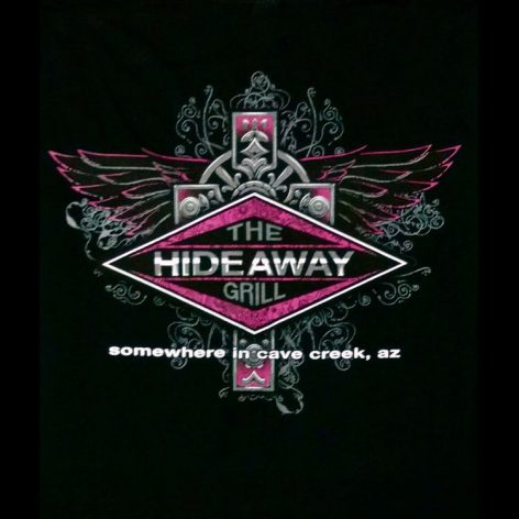 The Hideaway Grill - Women's Pink Cross Short Sleeve Shirt - Black