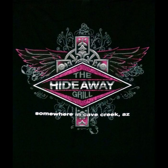 The Hideaway Grill - Women's Pink Cross Short Sleeve Shirt - Black