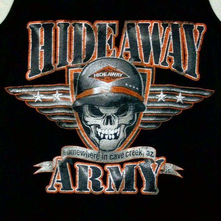 The Hideaway Grill: Women's Army Racerback Tank - Front - Black