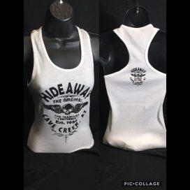 The Hideaway Grill: Women's Old School Wing Racerback Tank - White