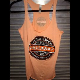 The Hideaway Grill: Women's Sex Wax Racerback Tank - Orange