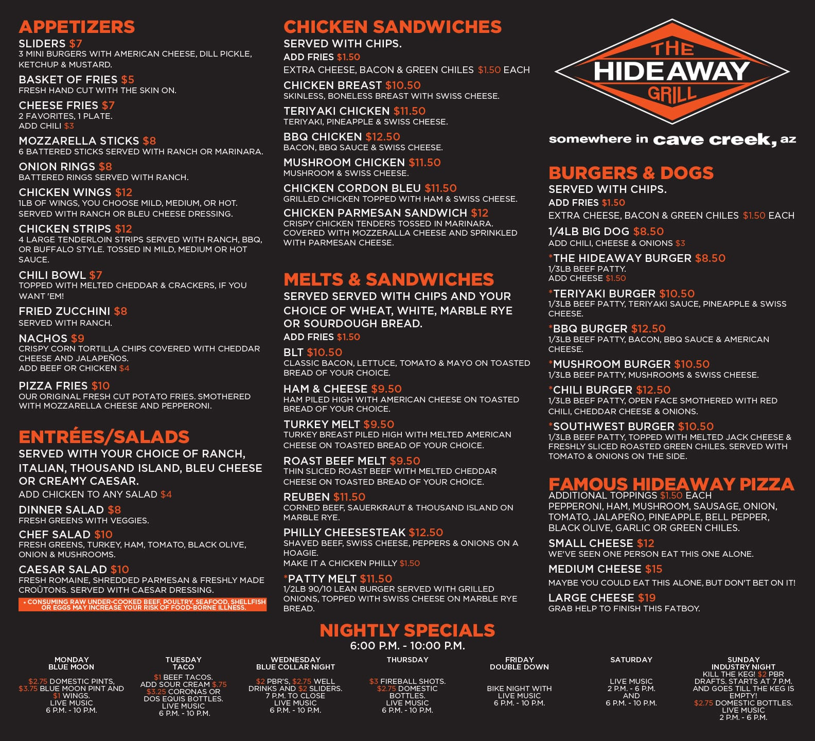 The Hideaway Grill - Cave Creek Menu